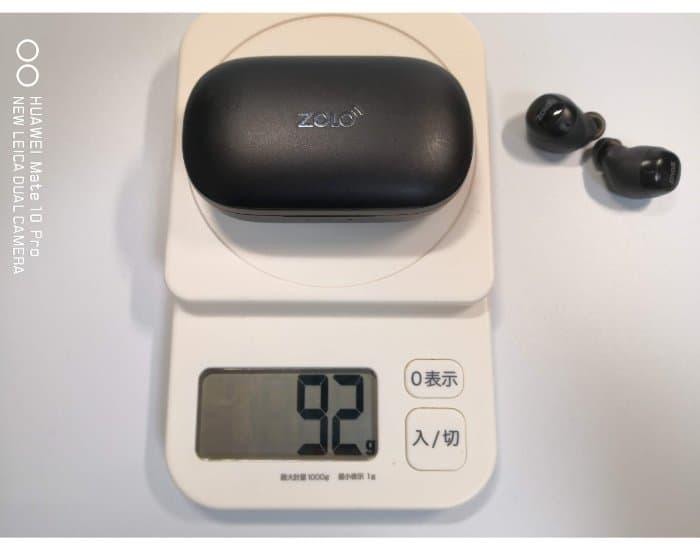 Zolo Liberty充電ケースの重さ