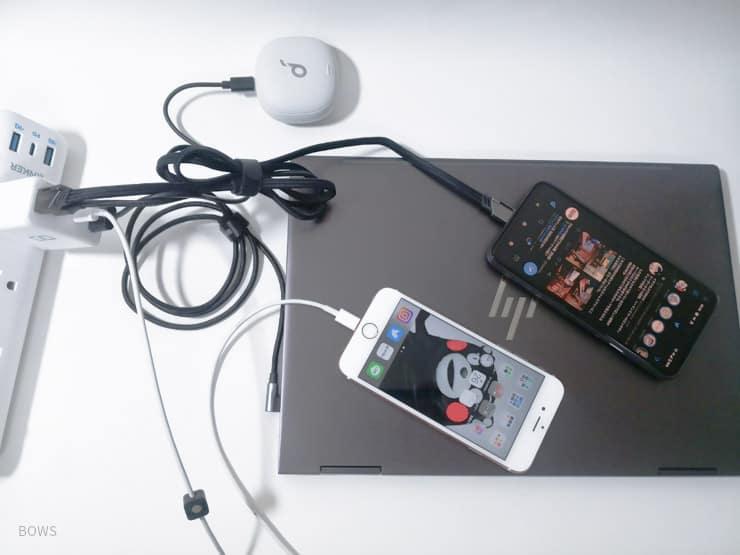 CIO LilNob Shareを使って実際に4つのデバイスを同時に充電してみる