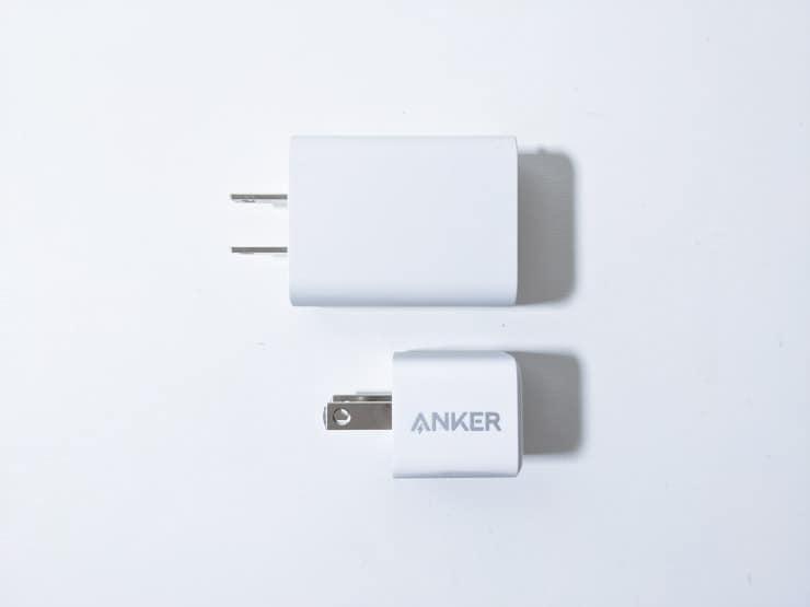iPhoneのACアダプターとAnker Power Port Ⅲ Nano