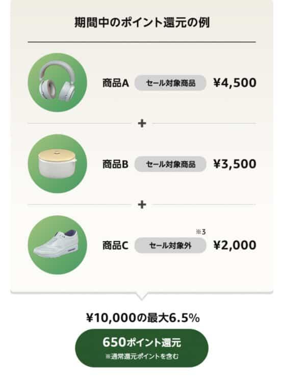 新生活セールのポイントアップキャンペーン購入例
